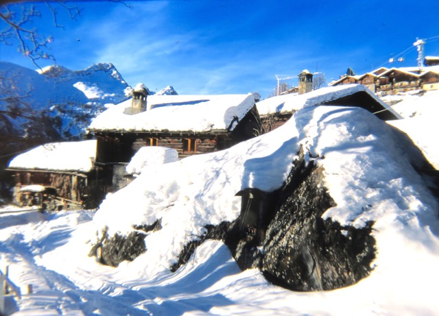 A Walser summer farm near Alagna is idle during winter months in the high Alps.
