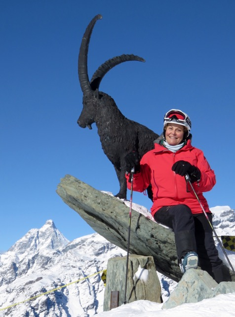 This Steinbock wild goat statue welcomes skiers and hikers to a beautiful view of the Matterhorn high in the Monte Rosa region.