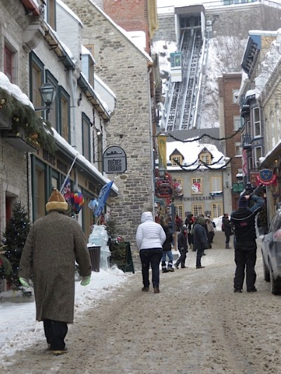 Old Quebec City with Funicular carrying people to new Quebec